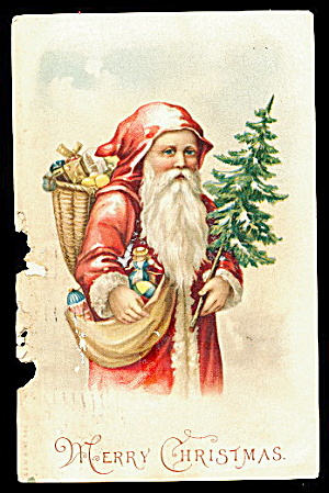 Santa Claus in Robe Holding Tree 1908 Postcard (Image1)