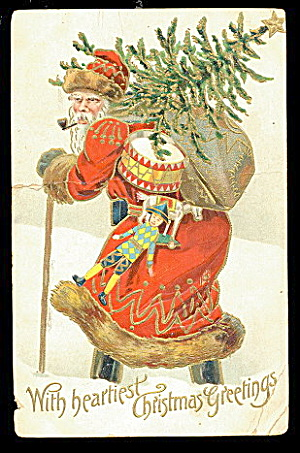 1907 Santa Claus In Fur Coat With Toys Postcard