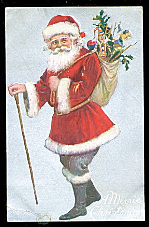 Santa Claus with Walking Cane 1908 Postcard (Image1)