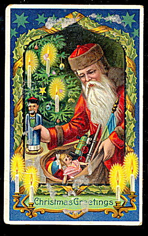 Christmas Greetings Santa Claus Toys 1913 Postcard