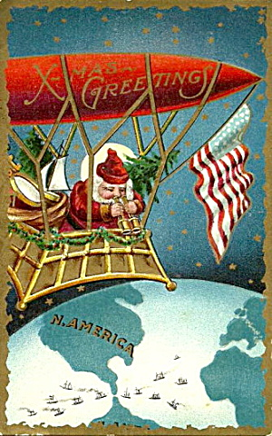 1906 Santa Claus in Zeppelin Looking Down Postcard (Image1)
