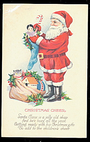 Santa Claus In Circle With Toys 1920s Postcard