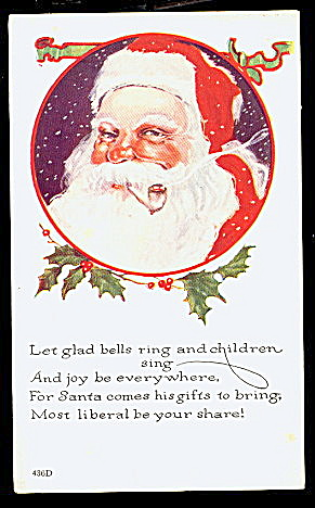 Santa Claus in Circle with Holly 1920s Postcard (Image1)