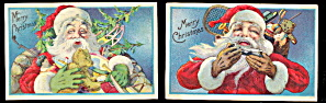 2 Santa Claus With Toys 1924 Postcards