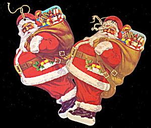 2 1950s Verona PA Santa Claus Paper Ornaments (Image1)
