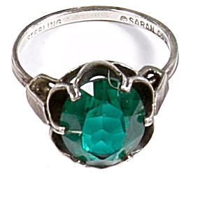 1970s Sarah Coventry Sterling Silver Green Ring