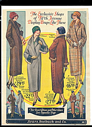 1920s Women's Coats Sears Color Ad