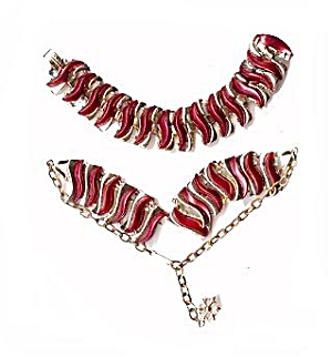 Lovely Red Purple Thermoset Necklace & Bracelet (Image1)
