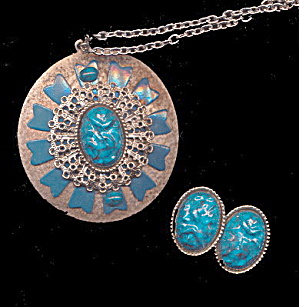 Large Vintage Turquoise Blue Necklace & Earrings Set (Image1)