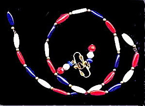 Lovely Vintage Red,White & Blue Bracelet & Earrings (Image1)