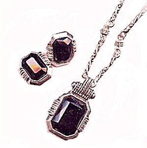 Black Lucite Inset with Silvertone Necklace & Earrings (Image1)