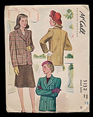 1943 Mccall's 5132 Printed Jacket Sewing Jacket