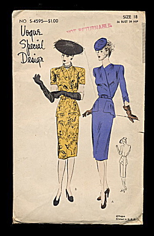 1940s Vogue S-4595 One Piece Dress Sewing Pattern (Image1)