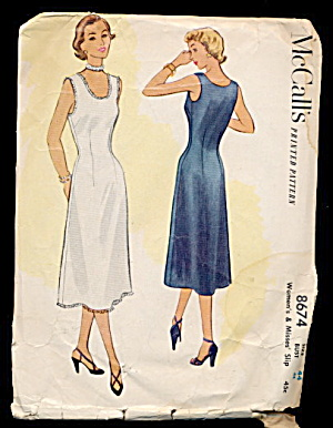 1951 McCalls 8674 Womens Slip Sewing Pattern (Image1)