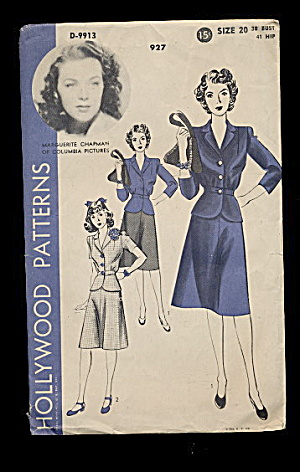 1940s Marguerite Chapman D-9913 Dress Sewing Pattern