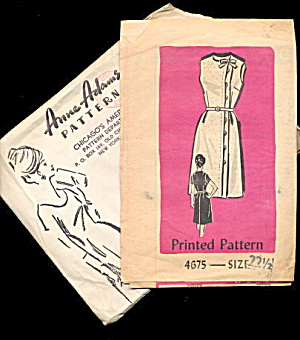 Anne Adams 1950s 4675 Sleeveless Dress Sewing Pattern