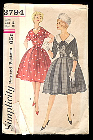 1950s Simplicity 3794 One Piece Dress - Size 18