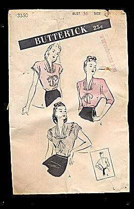 1940s Butterick 3550 Blouse Sewing Pattern (Image1)