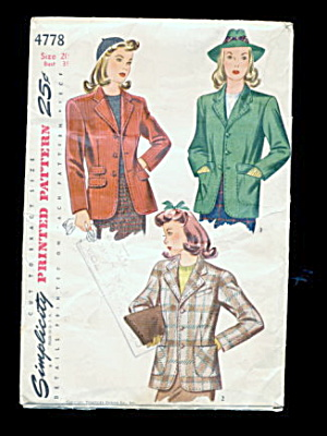 1940s Simplicity 4778 Topper Jacket Sewing Pattern