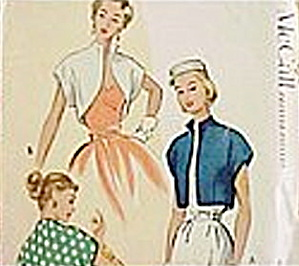 1951 McCall�s #8472  Women's Bolero Sewing Pattern (Image1)