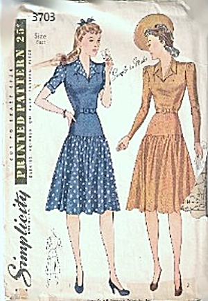 1940s Simplicity 3703 One Piece Dress Sewing Pattern (Image1)