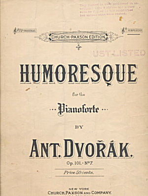 'humoresque' By Antonin Dvorak 1904 Sheet Music