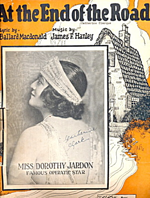 'at The End Of The Road' Deco Girl 1925 Sheet Music