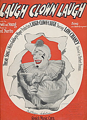 1928 'laugh Clown Laugh' Lon Chaney Sheet Music