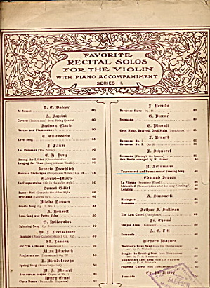 1897 Favorite Recital Solos For The Violin Sheet Music