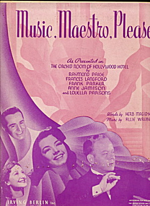 "1938 ""music, Maestro, Please "" Sheet Music"