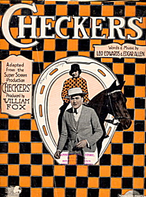 1919 'checkers' Horse Film Music Score Sheet Music