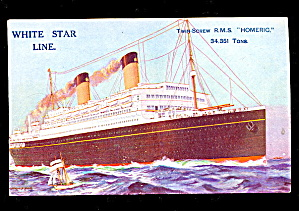 White Star 'homeric' Steamer Ship 1907 Postcard