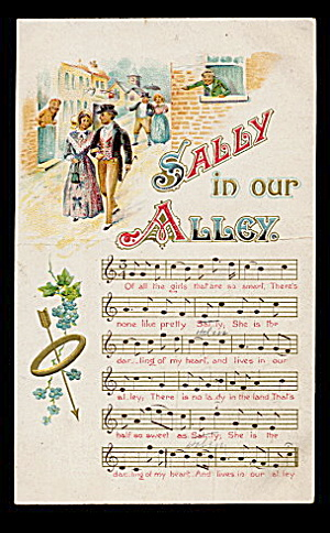 'Sally in Our Alley' Song 1907 Lyrics Postcard (Image1)