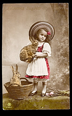Real Photo Easter Girl with Rabbits 1910 Postcard (Image1)