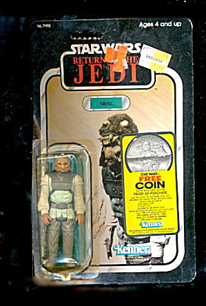 1983 Star Wars Figure Return Of The Jedi Nikto On Card