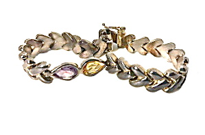 Vintage Sterling Silver With Yellow/purple Bracelet
