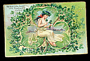 Tucks St. Patricks Day Girl Shamrock 1907 Postcard