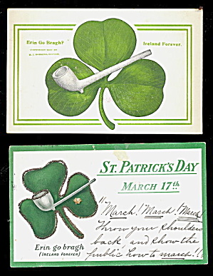 2 St. Patricks Day Saying 1906 Postcards