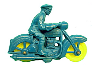 1950's Auburn Police Motorcycle Plastic- Rubber Toy