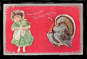 Lovely Girl with Turkey 1910 Postcard (Image1)