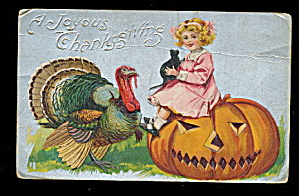 Great 1907 Thanksgiving Girl on Jack-O-Lantern Postcard (Image1)
