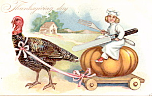 Tucks Thanksgiving Girl Riding Turkey Coach Postcard (Image1)