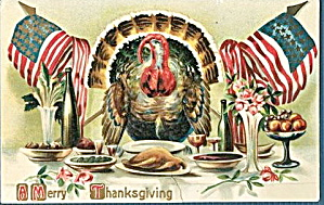 Lovely 1912 Thanksgiving Turkeys with Flags Postcard (Image1)