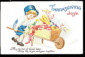 1908 Ellen Clapsaddle Thanksgiving Boy Postcard (Image1)