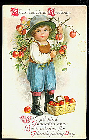 1907 Ellen Clapsaddle? Boy Thanksgiving Postcard (Image1)