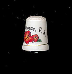 St. Thomas Virgin Islands Souvenir Porcelain Thimble