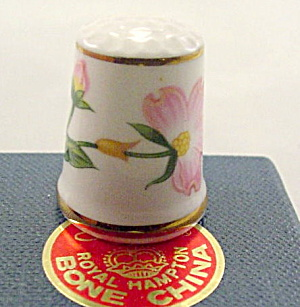 Lefton Floral Porcelain Thimble In Box