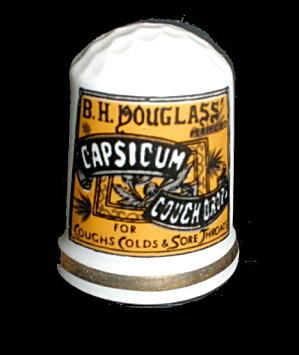 1980 Porcelain Thimble Capsicun Cough Drops