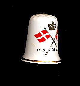 Vintage Denmark With Flags Souvenir Thimble