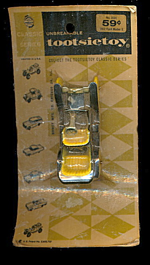 1960s Tootsietoy 1912 Ford Model T Mint On Card